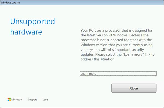 phần cứng ngừng hổ trợ windows