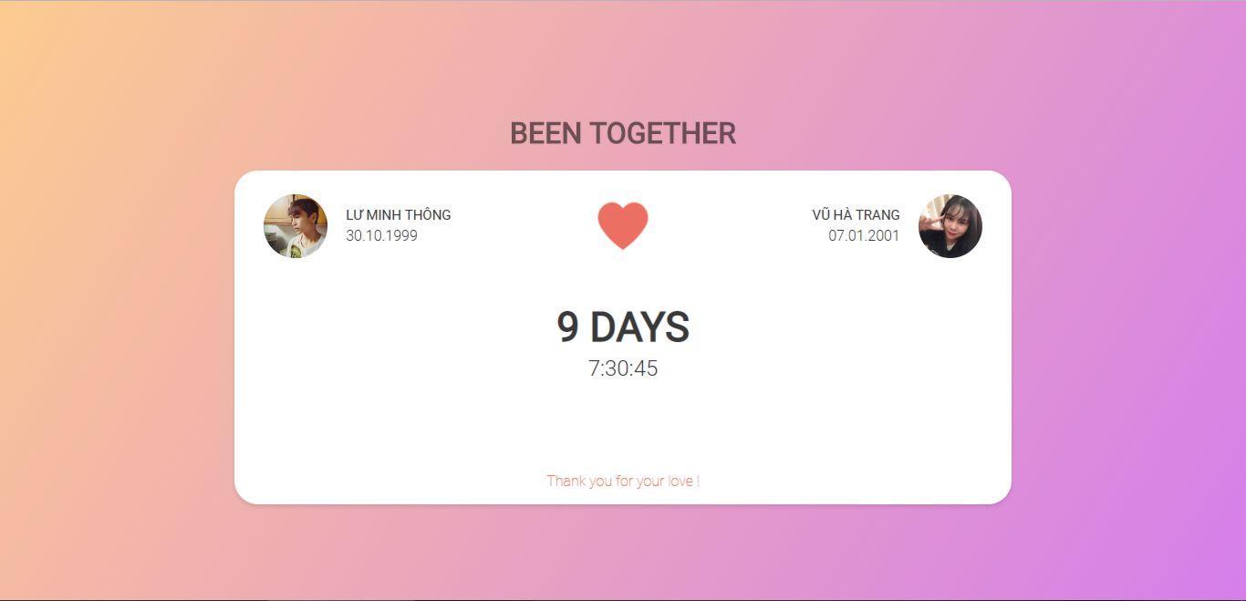 Hướng dẫn tự làm website đếm ngày yêu nhau 2019