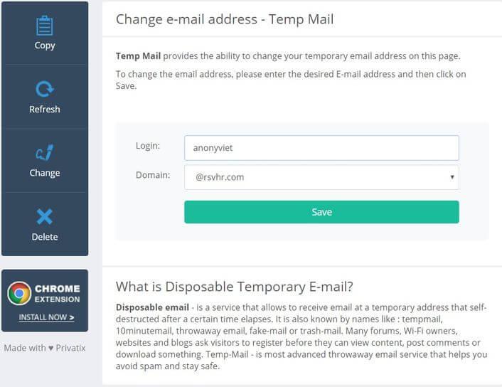 tạo mail ảo temp-mail.org