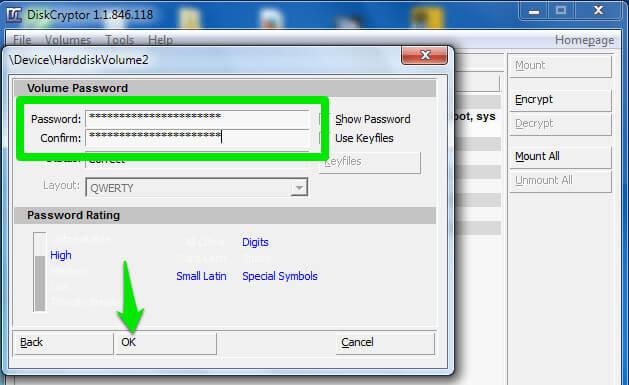 nhập và xác nhận Password