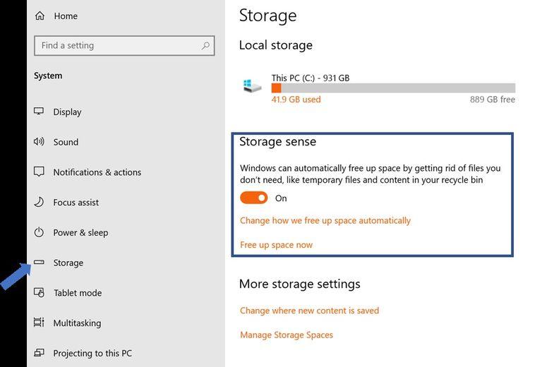 bật chức năng Storage Sense
