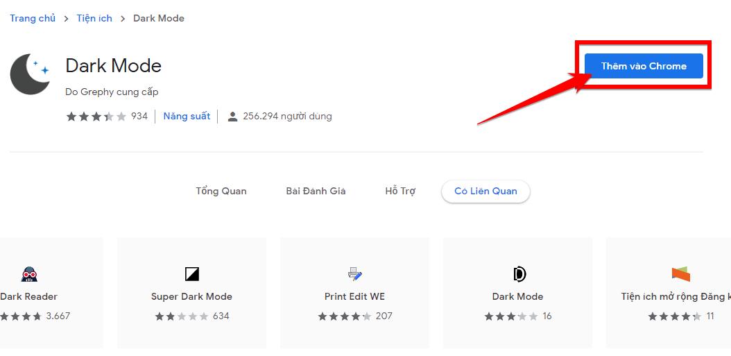 Thêm Dark Mode vào Chrome