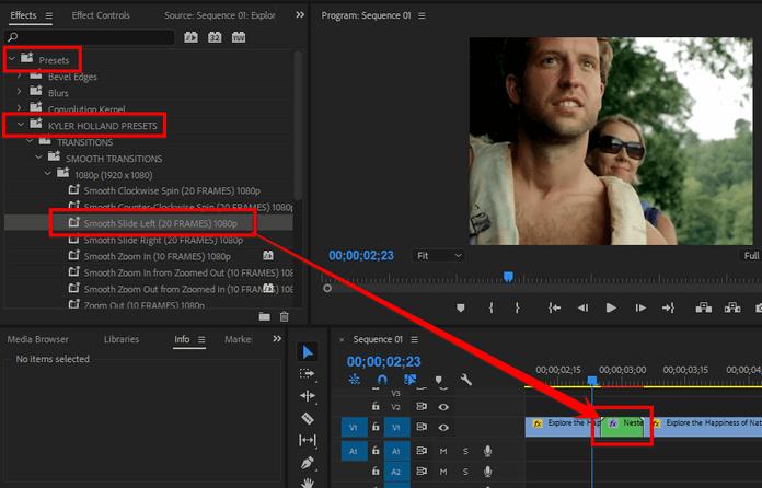 Kéo file hiệu ứng chuyển trong thư mục preset vừa import vào video đã gộp ban nãy