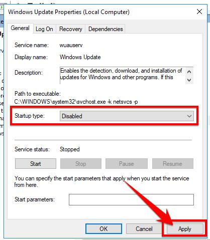 Chọn chế độDisable ở mục Starup type và nhấn Apply