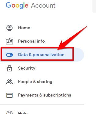 Chọn mụcData & personalization.