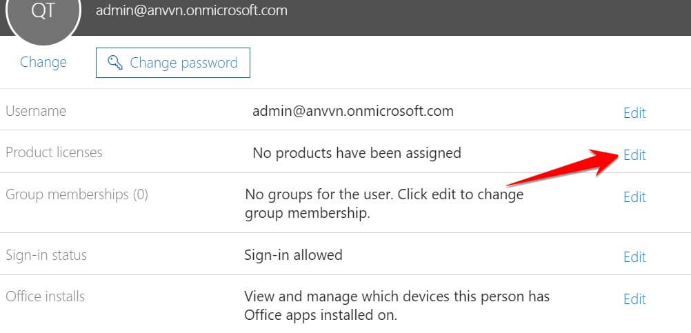 Product licenses: No products have been assigned