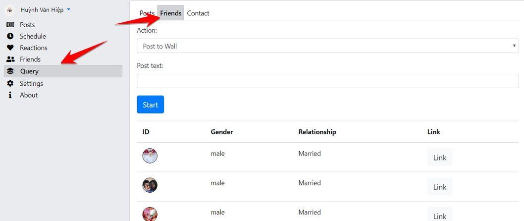 Friends - Tự động Post lên tường, chọc, xuất file danh sách bạn bè