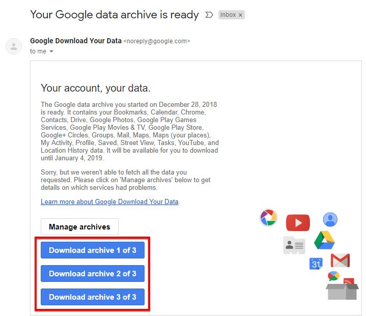Tải dữ liệu tài khoản google