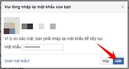 nhập mật khẩu để xác nhận thay đổi