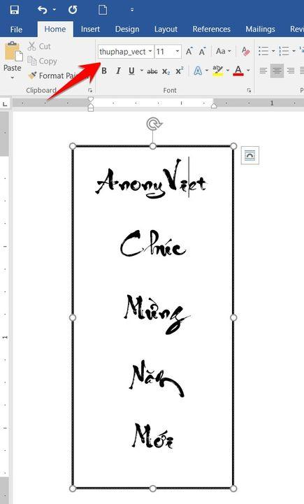 chọn font thư pháp unicode