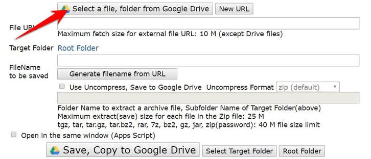 Select a file, folder from Google Drive