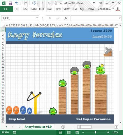 Angry birds trong Excel