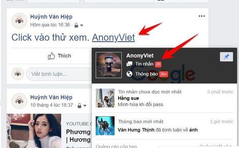 hiển thị link ẩn facebook