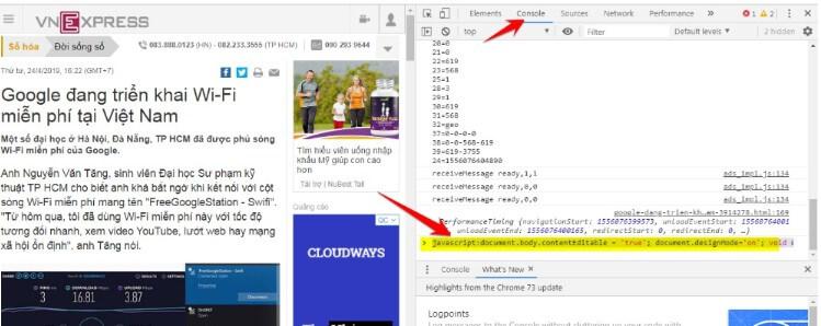 dùng code thay đổi nội dung Website