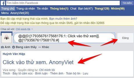 tạo link ẩn facebook