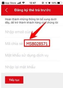 hập mã MSB028571 để được tặng 10k vào tài khoản MSB