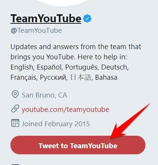 Chat với Suppport Youtube bằng tweeter