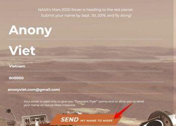 Hướng dẫn cách đăng ký tên mình đưa lên Sao Hỏa của NASA 1