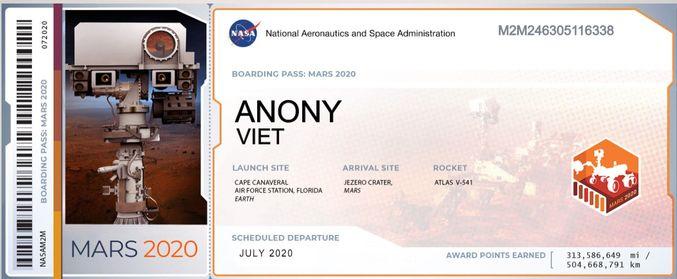 đăng ký tên mình đưa lên Sao Hỏa của NASA