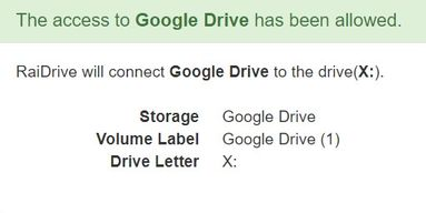 The access to Google Drive has been allowed