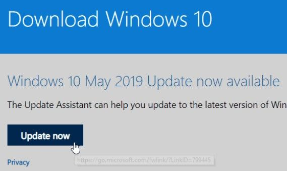 Update Assistant cập nhật windows 10 19H2