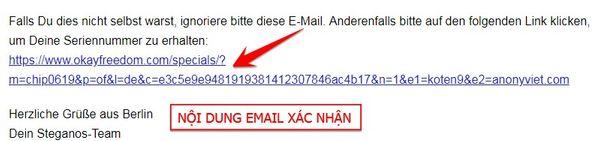 Email xác nhận đăng ký key premium OkayFreedom