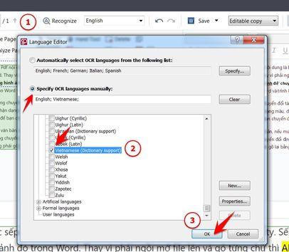 Check chọn ngôn ngữ Vietnamese