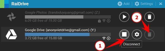 Cách xóa ổ đĩa mạng Google Drive bằng RaiDrive