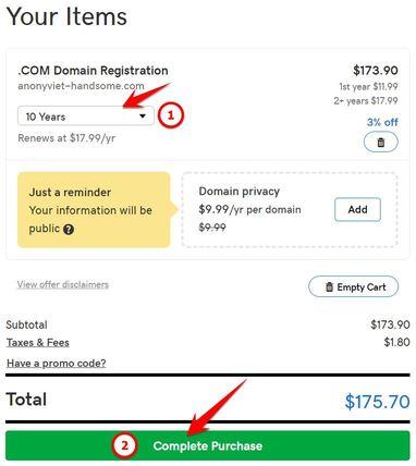 Hướng dẫn đăng ký Domain 10 năm của Godaddy miễn phí bằng BIN
