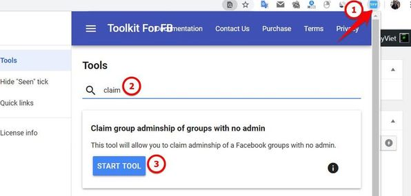 Claim group adminship of groups with no admin toolkit for facebook