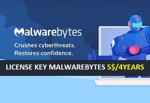 Malwarebytes 4 YEARS 5USD