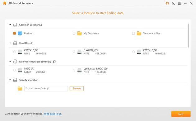 chọn đường dẫn của vị trí dữ liệu nơi bạn muốn tìm các file bị mất