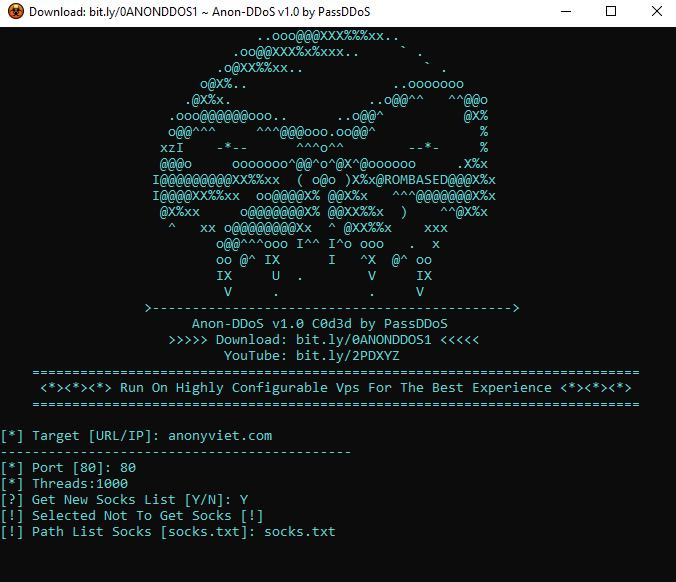 Tải Tool Anon DDoS Website bằng SOCKS hoặc Proxy