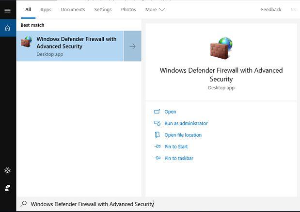 mở port firewall windows