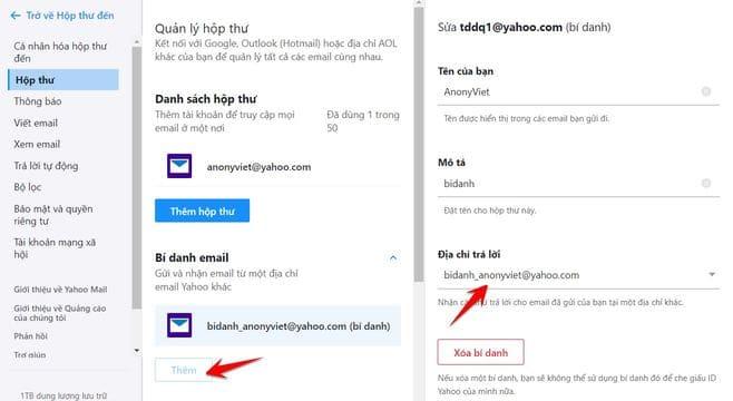 Tạo bí danh (Alias) Yahoo Mail!