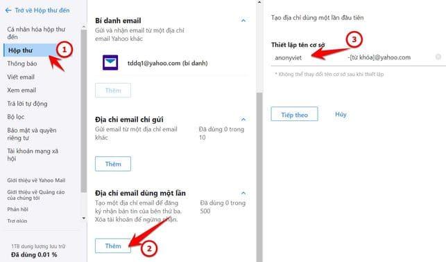 Tạo địa chỉ Email dùng một lần