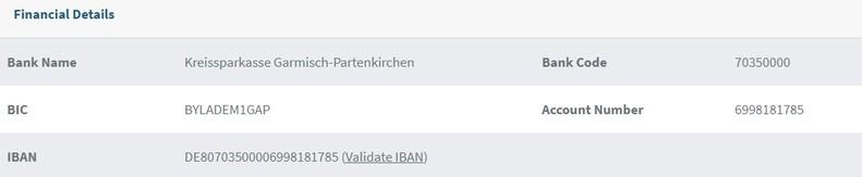 fake IBAN của Đức
