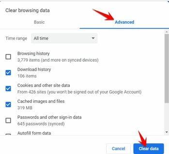 Clear Browsing data xem lịch sử truy cập Web ở chế độ Ẩn danh