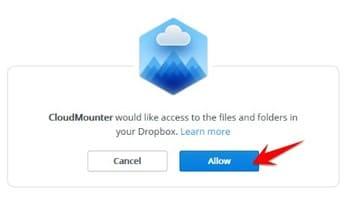 Allow cấp quyền để CloudMounter
