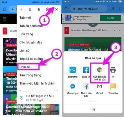 Gửi các Tab từ điện thoại đến máy tính send to your devices
