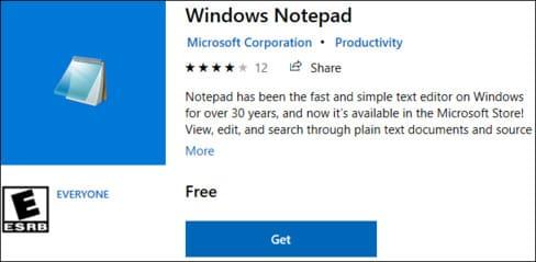 Notepad có thể tải về từ Store windows 10 20H1