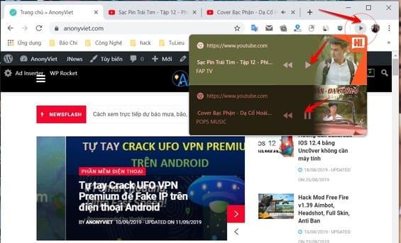Cách bật nút Play/Pause nhạc trên Chrome mới