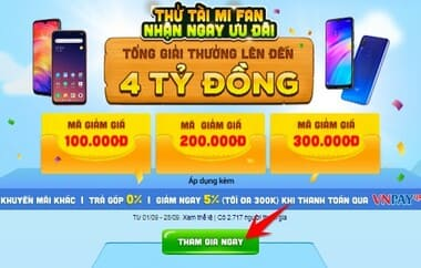 Cách nhận mã giảm giá đến 300k khi mua điện thoại XIAOMI