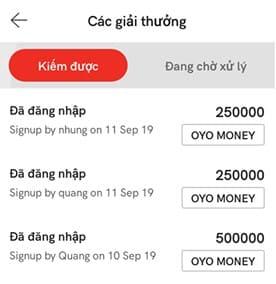 tiền kiếm được từ oyo