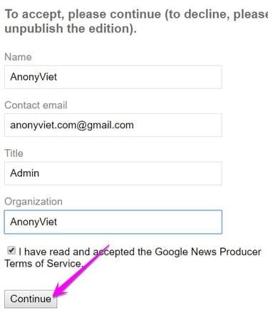 đồng ý thông tin đăng lên google news