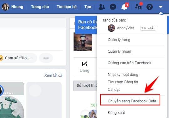 Hướng dẫn cách sử dụng thiết kế mới Facebook Beta 4