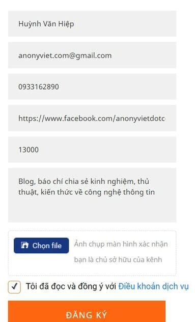 tạo kênh page trên lotus.vn