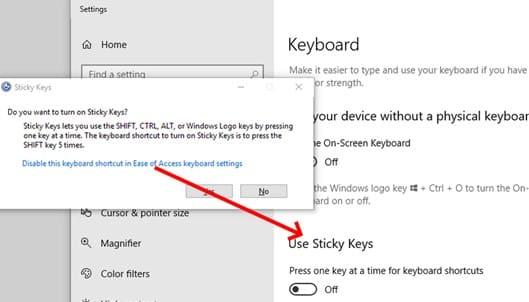 Tắt Sticky Keys tự tắt các tính năng không cần thiết của Windows 10