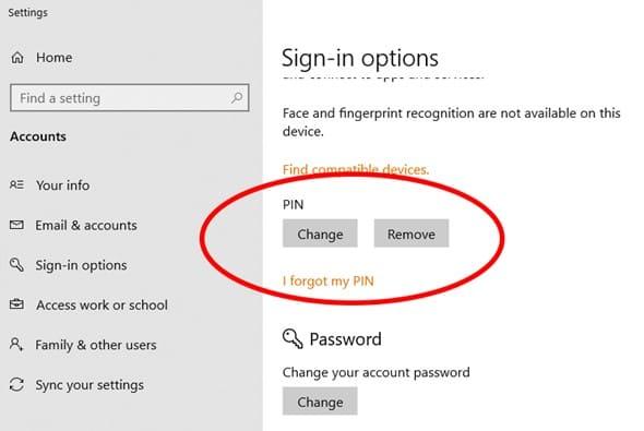 Sử dụng mã PIN thay vì Password