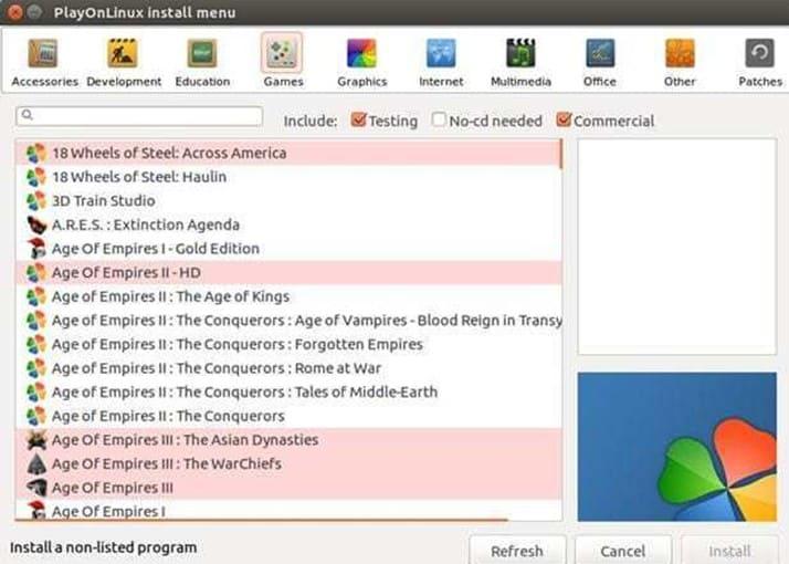 cài phần mềm windows trên linux với PlayOnLinux